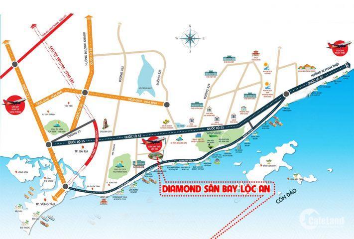 bản đồ sân bay Lộc An Hồ Tràm